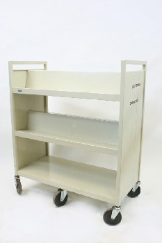 Cart, Library, BOOK CART WITH 3 LEVELS, ROLLING (6 WHEELS), METAL, BEIGE