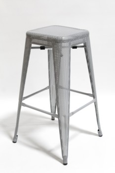 Stool, Square, COUNTER HEIGHT,PERFORATED SEAT & LEGS,IRON POWDER COATED, MODERN INDUSTRIAL STYLE, STACKABLE, METAL, GREY