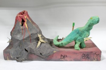 Art, Miscellaneous, KIDS ARTS & CRAFTS,PAPER MACHE VOLCANO & DINOSAUR SCENE, CHICKEN WIRE FRAME, AGED , PAPER, MULTI-COLORED
