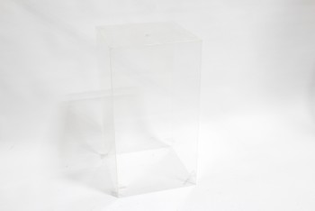 Plinth, Plexiglas, DISPLAY PEDESTAL, COVER OR BIN, RECTANGULAR W/1 OPEN END, SMALL CORNER LEDGES , PLEXIGLASS, CLEAR