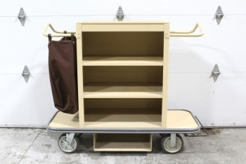 Cart, Cleaning, HOUSEKEEPING,3 SHELVES,END HANDLES,SHELVES,ATTACHED BAG, ROLLING (Not Identical To Photo: Bottom Piece Removed) , PLASTIC, BEIGE