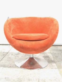 Chair, Side, MODERN, TULIP STYLE SEATING, ROUND CHROME STEEL BASE, SWIVELS, FABRIC, ORANGE