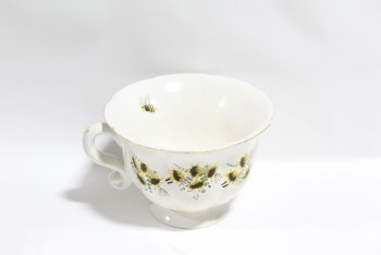 Decorative, Misc, OVERSIZED LIGHTWEIGHT XL TEA CUP W/HANDLE, YELLOW FLOWERS & BEES, PAINTED W/GOLD TRIM, FOAM, WHITE