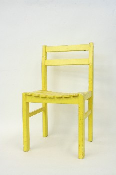 Chair, Child's, SLAT SEAT,HAND PAINTED , WOOD, YELLOW