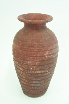 Vase, Floor, PRIMITIVE,HORIZONTAL LINES/STRIPES, TERRA COTTA, BROWN