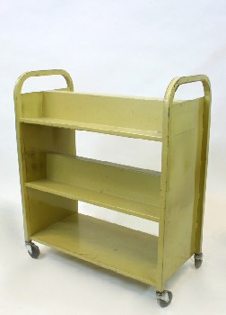 Cart, Library, BOOK CART WITH 3 LEVELS,ROUNDED END HANDLES, ROLLING, METAL, YELLOW