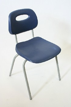 Chair, Stackable, MOLDED SEAT W/GREY LEGS,SEAT BACK CUTOUT, ARMLESS , PLASTIC, BLUE