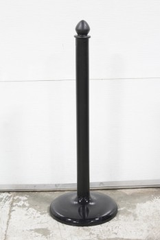 Stanchion, Post, PLAIN, LIGHTWEIGHT, ROUNDED TOP, ROUND BASE, PLASTIC, BLACK