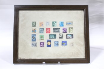 Wall Dec, Collection, CLEARABLE, FRAMED STAMP COLLECTION, INCLUDES 23 REAL OLD POSTAGE STAMPS, MULTI-COLORED