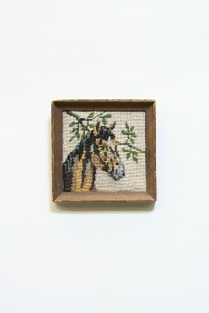 Wall Dec, Stitched, CLEARABLE,NEEDLEPOINT,HORSE HEAD W/TREE BRANCH,WOOD FRAME, EMBROIDERY, MULTI-COLORED