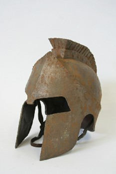 Headwear, Helmet, POINTED FACE GUARDS & LION FACE MOHAWK, MUSEUM, MEDIEVAL / ANCIENT LOOK, AGED, PLASTIC, RUST