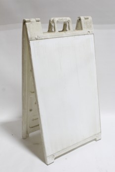 Sign, Sandwich Board, BLANK ON BOTH SIDES, FREESTANDING, AGED , PLASTIC, WHITE