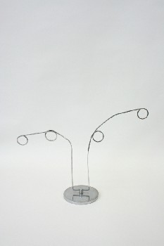 Sign, Holder, DISPLAY STAND,2 CIRCLES ON EAC, METAL, SILVER