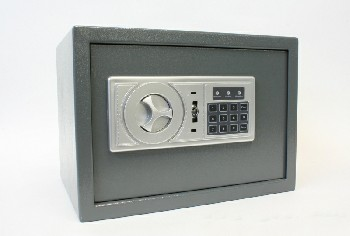 Safe, Misc, HOTEL SAFE W/FRONT DIAL & NUMBER PANEL, LOCKED , METAL, GREY