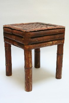 Stool, Square, WOVEN SEAT,AGED, BAMBOO, BROWN