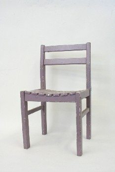 Chair, Child's, SLAT SEAT,HAND PAINTED , WOOD, PURPLE