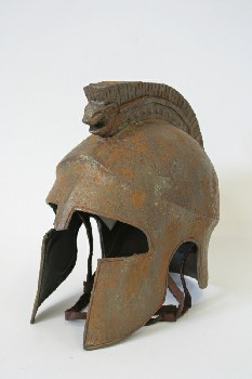 Headwear, Helmet, POINTED FACE GUARDS & LION FACE MOHAWK, MUSEUM, MEDIEVAL / ANCIENT LOOK, AGED, Condition Not Identical To Photo, PLASTIC, RUST