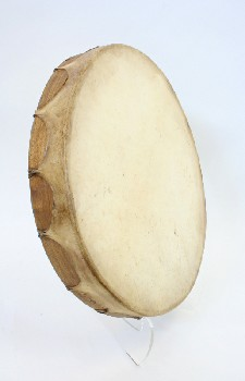 Music, Drum, TRIBAL DRUM,ROUND,LIGHT WOOD FRAME, AGED, ANIMAL SKIN, BROWN