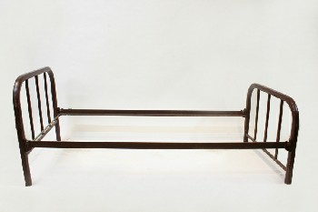 Bed, Metal, SINGLE SIZE W/ROUNDED FRAME W/BARS, HEADBOARD & 26.5