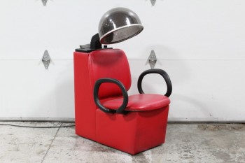 Chair, Salon, BARBER SHOP/HAIRDRESSER/DOG GROOMING CHAIR W/PERFORATED PLASTIC DOME DRYER (ADJUSTABLE HEIGHT), *WORKS*, VINYL, RED