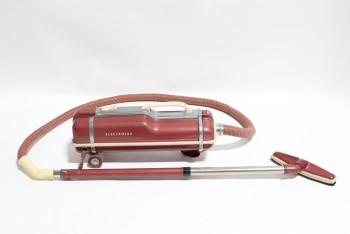 "Appliance, Vacuum Cleaner, VINTAGE CANISTER (10x24x8"") W/6' HOSE & BAR , METAL, RED"
