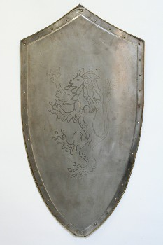 Weapon, Shield, LION CREST, BRASS TRIM & STUDS, LEATHER STRAP AT BACK, METAL, SILVER