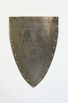 Weapon, Shield, 3 FLEUR-DE-LIS, BRASS ROSETTES, SUEDE STRAP AT BACK, AGED, METAL, SILVER