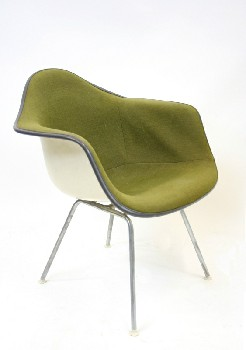 Chair, Side, MOLDED,UPHOLSTERED SHELL CHAIR,MID CENTURY MODERN, AGED , FIBERGLASS, GREEN