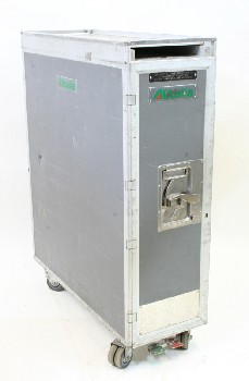 Airport, Misc, AIRLINE REFRESHMENT TROLLEY W/TRAY SLOTS INSIDE, OPENS FRONT & BACK, METAL, GREY