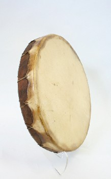 Music, Drum, TRIBAL DRUM,ROUND,DARK WOOD FRAME, AGED, ANIMAL SKIN, BROWN
