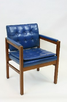 Chair, Client, TUFTED VINYL SEAT/BACK,WOOD FRAME, WOOD, BLUE