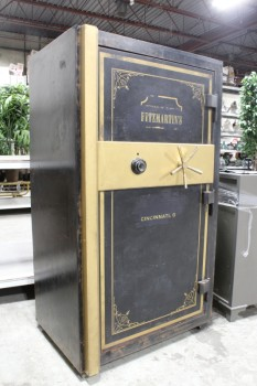 Safe, Floor, MOVIEMADE BANK SAFE,1 DOOR W/DIAL & COMBINATION KNOB,MAGNETIC DOOR,BLUE INTERIOR, AGED METAL LOOK , WOOD, BLACK