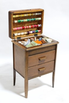 Sewing, Misc, SMALL CABINET,2 DRAWERS,HINGED LID,DRESSED W/VINTAGE SEWING SUPPLIES, 4 ROWS SPOOLS OF STRING, WOOD, BROWN