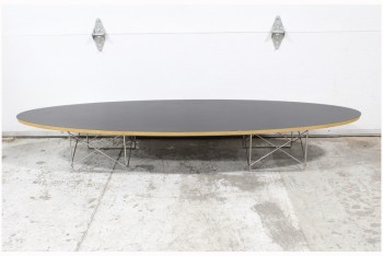 Table, Coffee Table, ELLIPTICAL,OVAL,BLACK LAMINATE LAYERED PLYWOOD TOP, WIRE ROD CRISSCROSSED LEGS AT EACH END, WOOD, BLACK