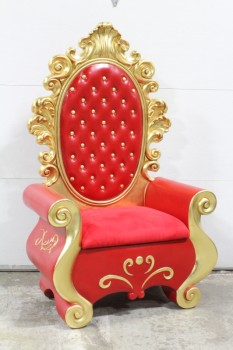 Chair, Misc, ORNATE GOLD TRIM, RED VELVET SEAT, OVAL SEAT BACK PANEL W/GOLD BUTTON TUFTED LOOK, CURVED SHAPE, SANTA CLAUS/CHRISTMAS, SPECIAL OCCASION THRONE, RESIN, RED