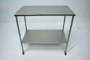 Table, Stainless Steel, 1 LOWER SHELF,ROLLING, STAINLESS STEEL, SILVER