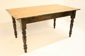 Table, Kitchen, HARVEST STYLE,SLAT TOP W/ TURNED LEGS, WOOD, BROWN