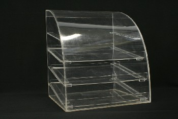 Restaurant, Display, BAKERY/CAFE/CAFETERIA/DINER,COUNTERTOP CASE,CURVED TOP W/3 SHELVES, PLASTIC, CLEAR