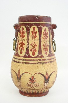 Vase, Floor, PAPYRUS MOTIF & PAINTED DESIGNS, SIDE RINGS, TERRA COTTA, RED