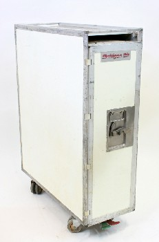 Airport, Misc, AIRLINE REFRESHMENT TROLLEY W/10 TRAYS INSIDE, OPENS FRONT & BACK, METAL, OFFWHITE