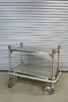Cart, Metal, 2 LEVELS,LARGE WHEELS,BUMPER, ROLLING , STAINLESS STEEL, SILVER