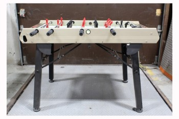 Table, Games, FOOSBALL TABLE WITH RED & BLACK PLAYERS, FOLDING BLACK METAL LEGS, WITH PIECES/BALLS, METAL, TAN