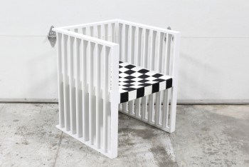 Chair, Armchair, RECTANGULAR GEOMETRIC SHAPE, SLAT SIDES & BACK, WOVEN BLACK & WHITE CHECKERBOARD STYLE FABRIC SEAT, KOLOMAN MOSER STYLE REPRODUCTION, WOOD, WHITE