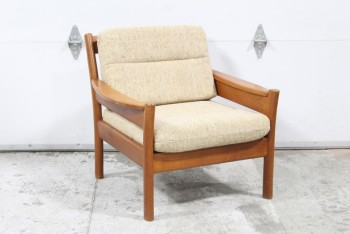 Chair, Armchair, DANISH MODERN, VINTAGE TEAK, CURVED BACK & ARMS, OATMEAL WOOL TEXTURED CUSHION, WOOD, BROWN