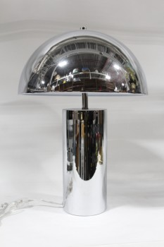 Lighting, Lamp, TABLE LAMP, MODERN, REFLECTIVE, MUSHROOM, CYLINDRICAL BASE W/DOME SHADE, METAL, SILVER