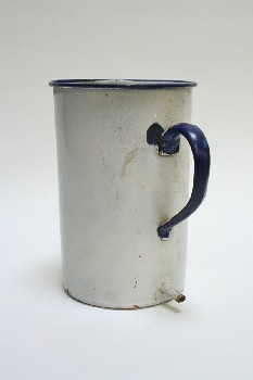 Medical, Container, CYLINDRICAL,BLUE HANDLE,SPOUT NEAR BOTTOM,WALLMOUNT, ENAMELWARE, WHITE