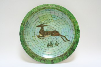 Decorative, Plate, ROUND,MOSAIC,ANTELOPE ON GREEN BACKGROUND, PLASTIC, MULTI-COLORED