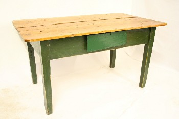 Table, Kitchen, RUSTIC HARVEST STYLE,MEDIUM STAIN 5 SLAT TOP,1 DRAWER, DISTRESSED , WOOD, GREEN
