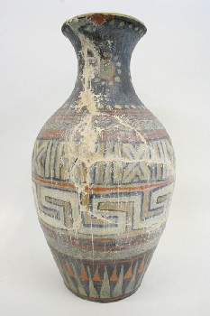 Vase, Floor, WIDER MIDDLE W/LINES & ZIGZAGS,CRACKED/AGED, TERRA COTTA, MULTI-COLORED