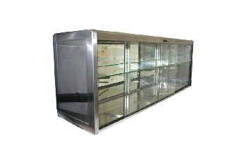 Cabinet, Display, CAFETERIA/DINER/RESTAURANT CASE,GLASS SHELF & SLIDING DOORS, MIRROR BACK, STAINLESS STEEL, GREY